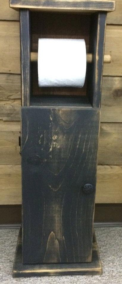 Rustic Toilet Paper Holder & Bathroom Cabinet by MaineWorksOfHeart