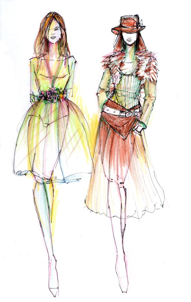 Fashion Illustration Colour Pencil Sketches