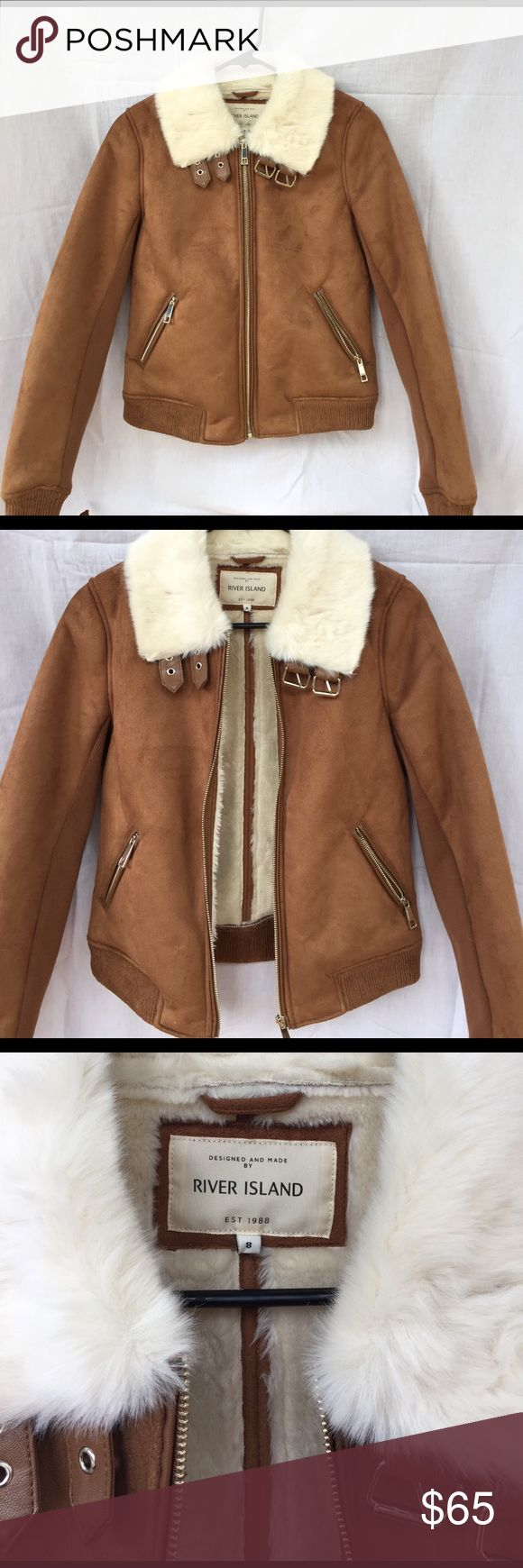 River Island Suede Jacket SO BUMMED, too small. Size EU8, fits like a 2/XS. If anyone has this in 10/ Sm/M, willing to trade. Bought in Italy. Never worn. River Island Jackets & Coats