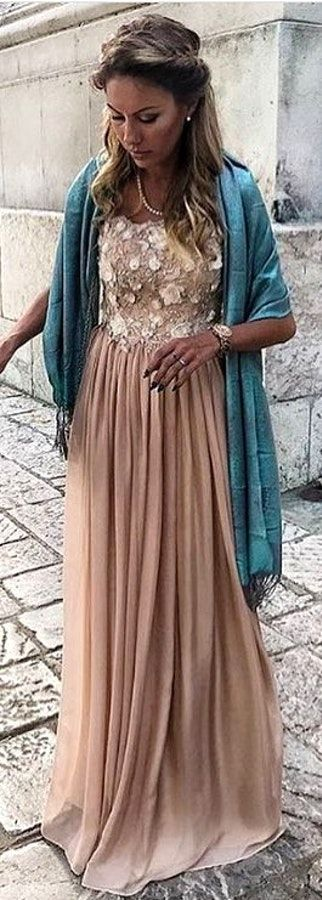 #winter #outfits  studded beige floral chiffon dress with blue scarf