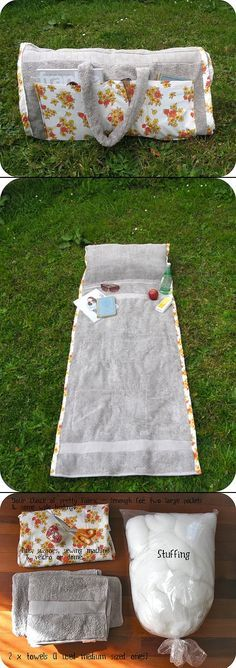 Badehandtuch mit eingenähtem Polster und als Tasche zusammenrollbar
