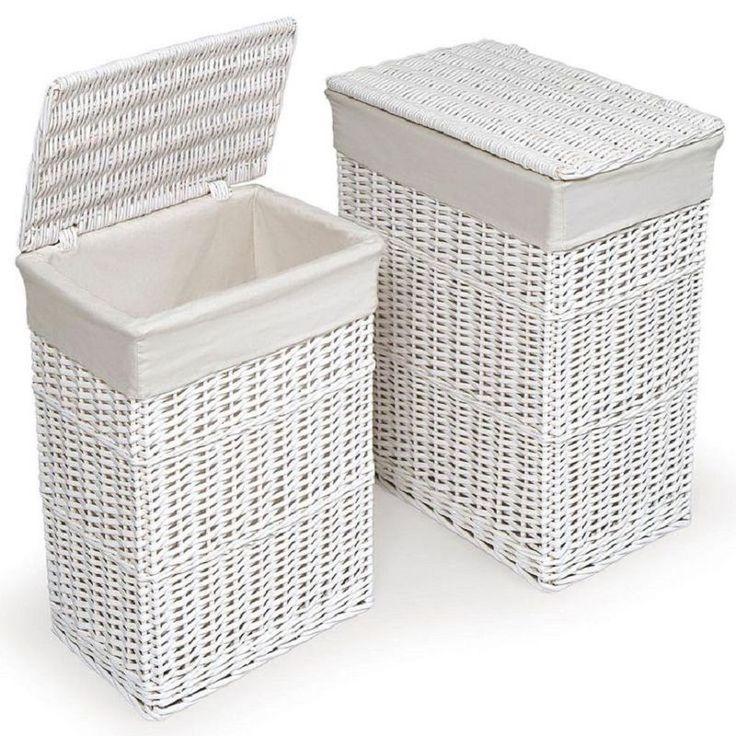 Larg & Medium Rectangular White Wicker Laundry Basket Linen Storage Bin W/Lid