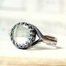 Prstene - Vintage Elegant Faceted Prehnite & Silver Ag 925 / Strieborný prsteň s fazetovaným prehnitom - 8222095_