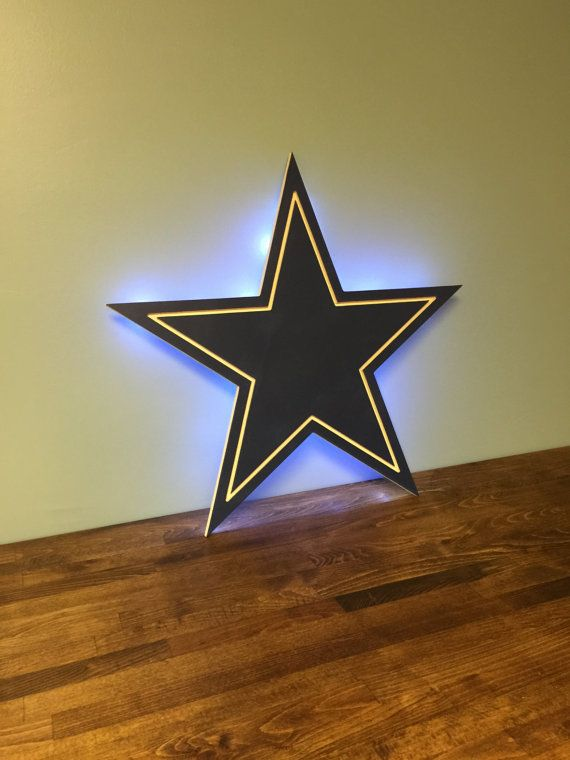 2014 NFC East Champions! This Dallas Cowboys wood cutout is precision made, painted navy with white edges and white outline. Backlit by 30
