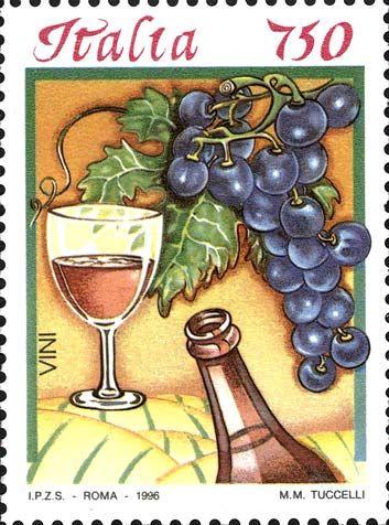 """1996 - """"Cibi italiani"""": Vino rosso -  calice riempito a metà ed una bottiglia di vino rosso; sullo sfondo, colline coltivate a vigneti e, in primo piano, un grappolo d'uva."""