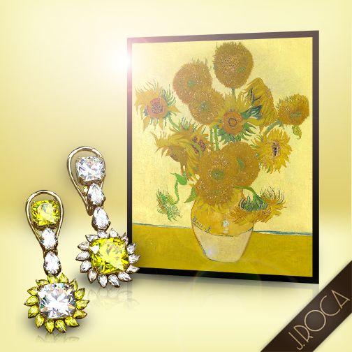 """Diamantes Fancy Talla Girasol. Van Gogh los escogió para contar los placeres del sol. En su """"Casa Amarilla"""" de Arlés, en espera de Paul Gauguin, decoró su habitación con cuadros de girasoles. Gauguin la describió: """"El sol brillaba, inundando de oro esta magnífica flor. Oh, sí, el divino Vincent amaba el amarillo, yo adoraba el rojo"""". Pendientes Fancy con diamantes minuciosamente escogidos, de la misma talla y calidad pero de diferente color. Una joya sorprendente y brillo deslumbrante."""