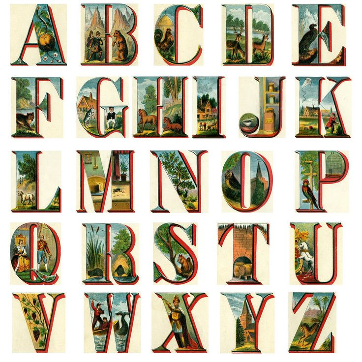 The alphabet extracted from the ABC Objects book by publisher Mc Loughlin Bros. New York, circa 1880.  Great for digital collages.
