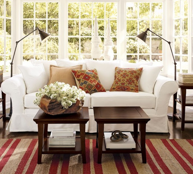 Love this look: Barns Living, Potterybarn, Decor Ideas, Memorial Tables, Floors Lamps, Rugs, Living Rooms Ideas, Sofas, Pottery Barns