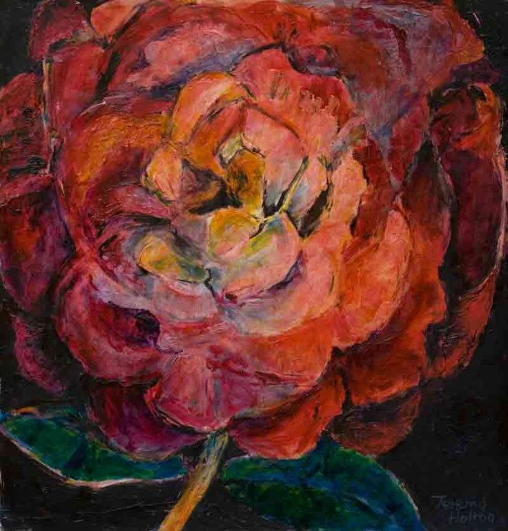 'Romantic Rose' a painting in oil on paper by Jeremy Holton www.jeremyholton.com    Oil on paper56 by 56 cms  #rose #flower $1700