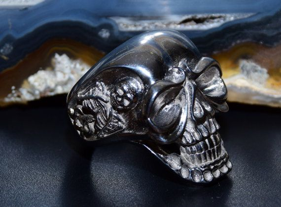 Black Rhodium Skull Ring, sterling silver 925. Skeleton jewelry. ALL RING SIZES AVAILABLE. Check our etsy jewelry presentation. Man Skull ring. Heavy mens ring. Mens jewelry. Gothic jewelry. 3D Skull ring. Sterling silver skull ring.