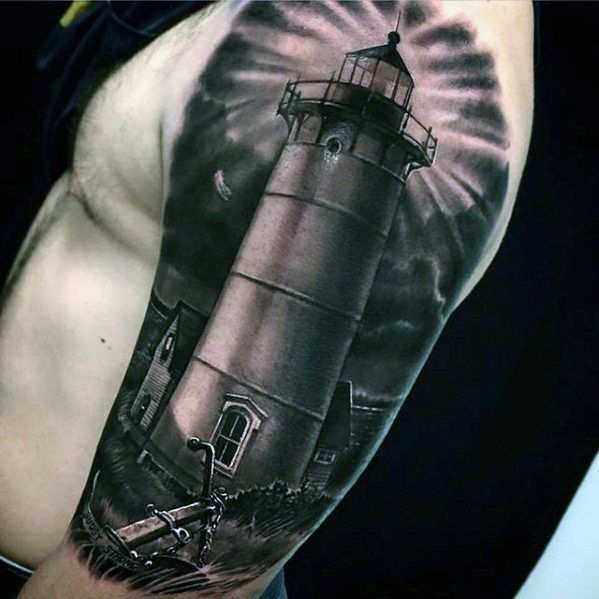 Realistic 3d Lighthouse Awesome Mens Half Sleeve Tattoo Ideas