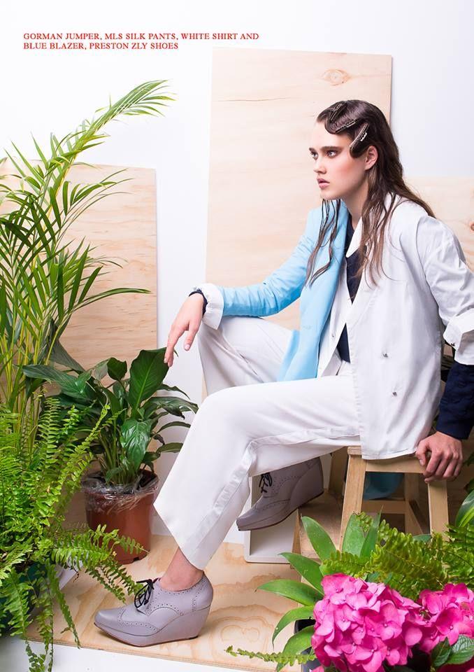 Preston Zly Anushka Leather Wedge in Kneon Mag   #Editorial  #kneon12  #photographer @carmenrosephotographer  #model @rosefreemantle @chadwickmodels #hair @salonbabyhair #mu. @sheranazmi #styling  @chantelleasciak #designers #australiandesigners @gormanclothing #shoes @prestonzly