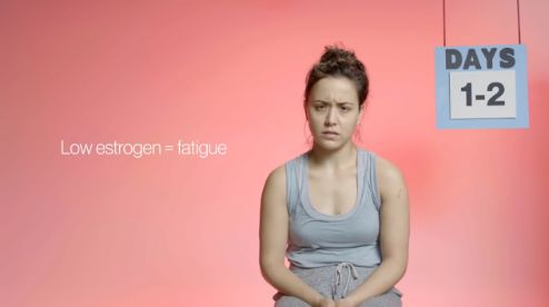 In the first 1-2 days of your period, your estrogen is low, which leads to fatigue. Also, most women know the hellish cramps these two days bring. This is a good time to exercise a bit. It may ease the cramping!