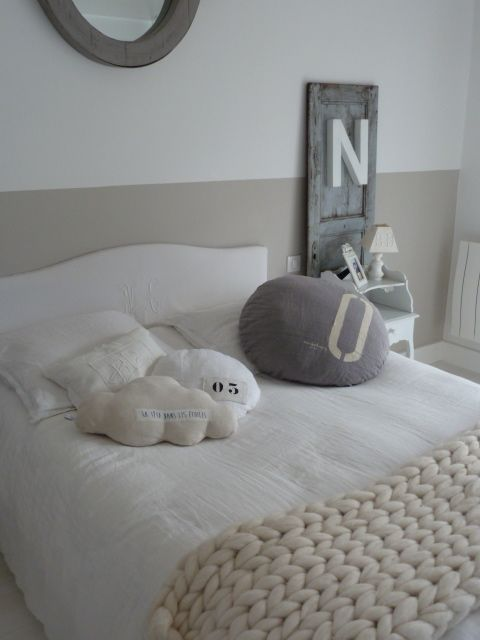 scandi chic contemporary minimalist style for unisex bedroom decor paint wall 1/2 way up in bedroom