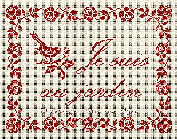 spring pattern - I'm in the garden / je suis au jardin with bird