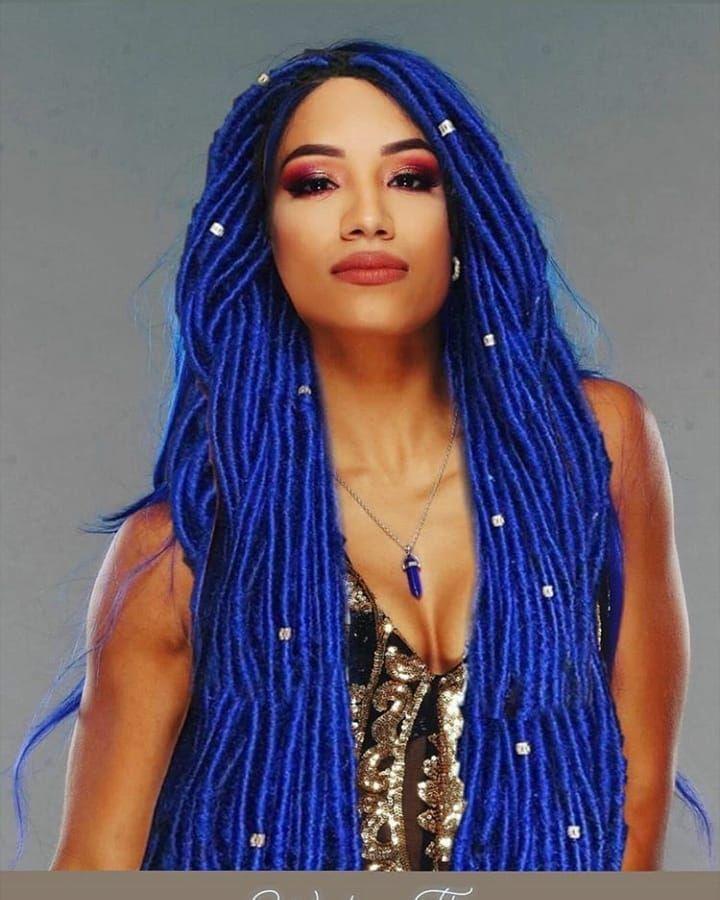 Sashabankswwe New Blue Haired Figure With Her New Jacket Sunglasses From Ringsidec At Ringsidefest Wwe Sasha Banks Sasha Bank Women