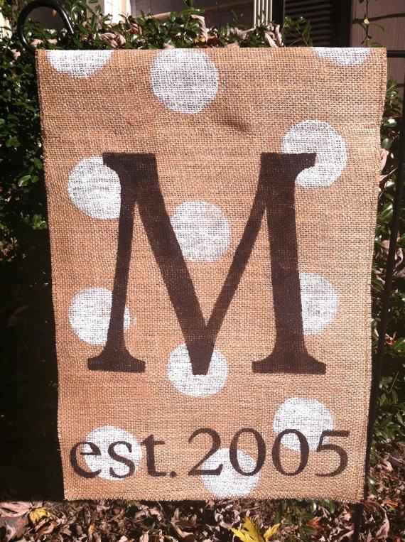 Established Burlap Garden Flag Monogram by ModernRusticGirl