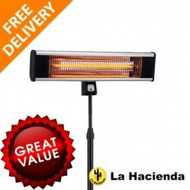 LA HACIENDA FREE STANDING PATIO HEATER  Carbon Fibre Elements  Instant  Directed Heat  Remote
