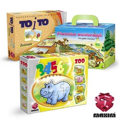 Zestaw 3 gier edukacyjnych MAXIM, którerozwijają u dzieci zainteresowanie zwierzętami i środowiskiem.W skład zestawu wchodzi:-TO i TO Zwierzęta-PLANETA ZWIERZĄT-Puzzle 34567 ZOOW ZESTAWIE MAXIM TANIEJ!