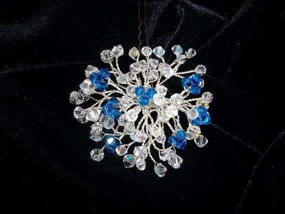 Something blue Wedding hair pins.Crystals blue by DesignByIrenne