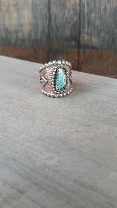Rustic copper and turquoise brand ring by The Classy Trailer On FB and Instagram @theclassytrailer