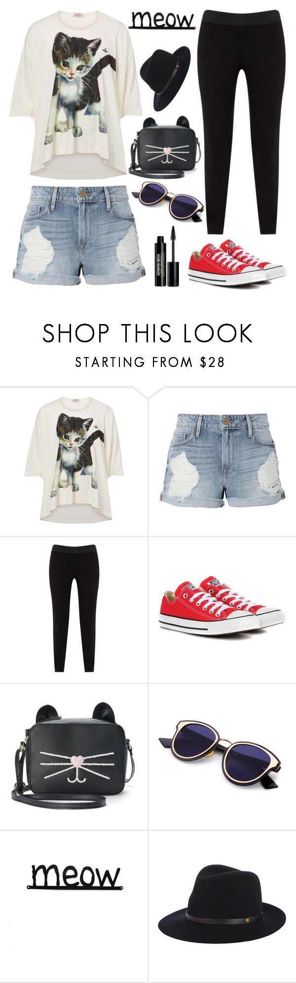 """Meow"" by pure-vnom ❤ liked on Polyvore featuring Vivienne Westwood, Frame, JunaRose, Converse, T-shirt & Jeans, rag & bone and Edward Bess"