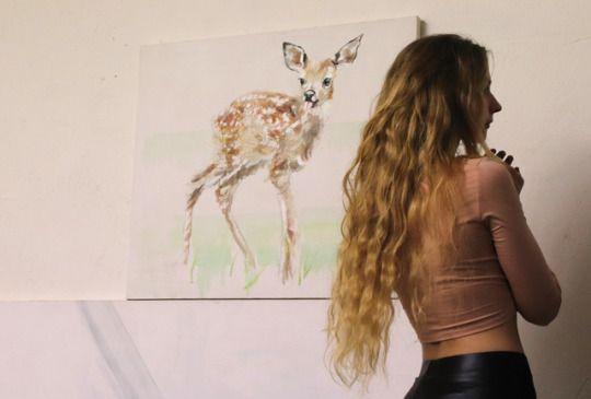 Artist studio. Painting: Bambi Portrait, oil on canvas