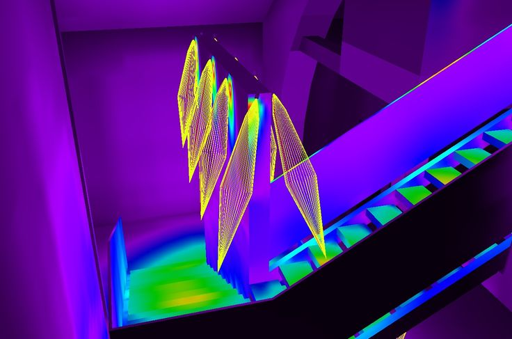 Lighting a stair.. #project #lighting #lightingand #minispot #lux #stairway #falsecolor #colorful #beams #steps #lumen