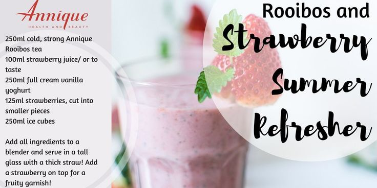 A delicious strawberry refresher made with Annique Rooibos tea.