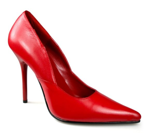 #Pleaser Shoes Milan-01 Red Leather #Timeless red shoes with court design, extra pointed toe and cut and sew details on side. The chic stiletto heel contrasted by the front flat sole add a further sexy touch to these elegant shoes. Use them to spice up a monocoloured day outfit or pair them up with your favourite party outfit for a provocative look. For fetish outfits use our matching ankle cuffs as to accessorize them.