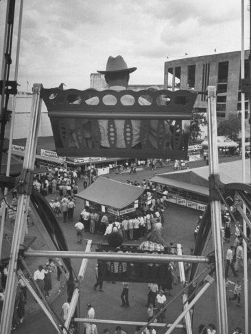 Texas Rancher with Kids, Perched 92-Ft. High on Ferris Wheel, Carnival Midway at County Fair: Carnival Midway, Ferris Wheels, Kid