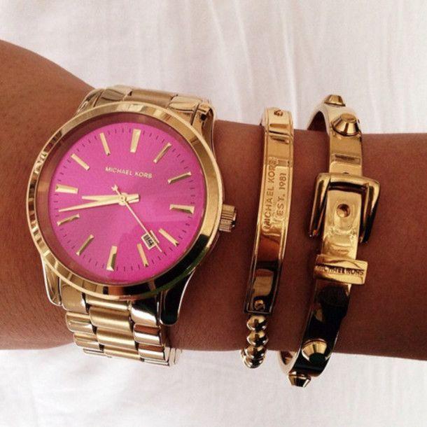 b16221b1fd56 jewels watch michael kors pink hot pink rose gold gold bracelets buckle  belt bracelet Belt chain gold chain adorable tan white…
