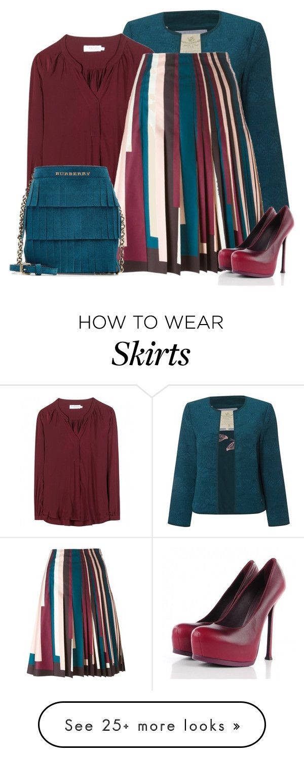 """""""Striped Skirt & a Solid Colored Blazer"""" by oxigenio on Polyvore featuring White Stuff, Velvet, Cédric Charlier, Burberry and Yves Saint Laurent"""