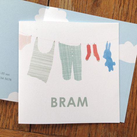 Wapperende was, een geboortekaartje voor jongens en meisjes ontworpen door Lotte Dirks op DaarBenJeDan.nl