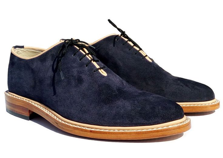Handmade Navy Leather Shoes, Mens Formal Blue Party Fashion Shoes - Boots