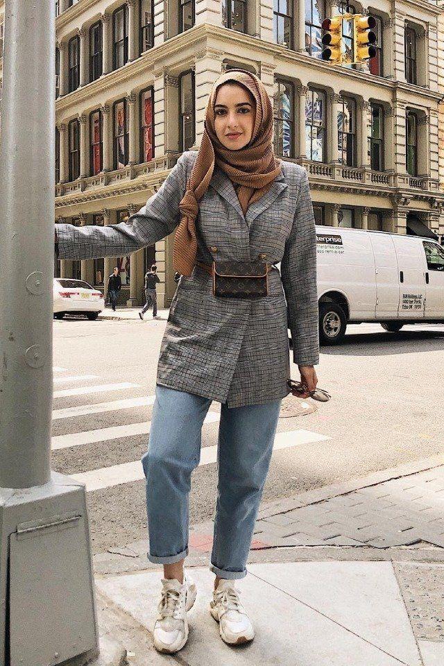 للمحجبات كيف ترتدين البنطلون الجينز البوي فريند Fashion Hijab Fashion Muslimah Fashion