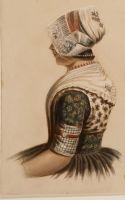 Op aquarel is oorijzer van midden 19e eeuw goed te zien, gedragen over geborduurde ondermuts en onder hul. Vorm en stand van ijzer is hetzelfde als bij vroeg 16e-eeuwse modellen.Oorijzer is nog altijd functioneel, bedoeld om witte muts stevig op hoofd te klemmen. Tegelijkertijdis het pronkstuk geworden. Op aquarel is zwart met oranje band om het geheel te zien.   #Urk