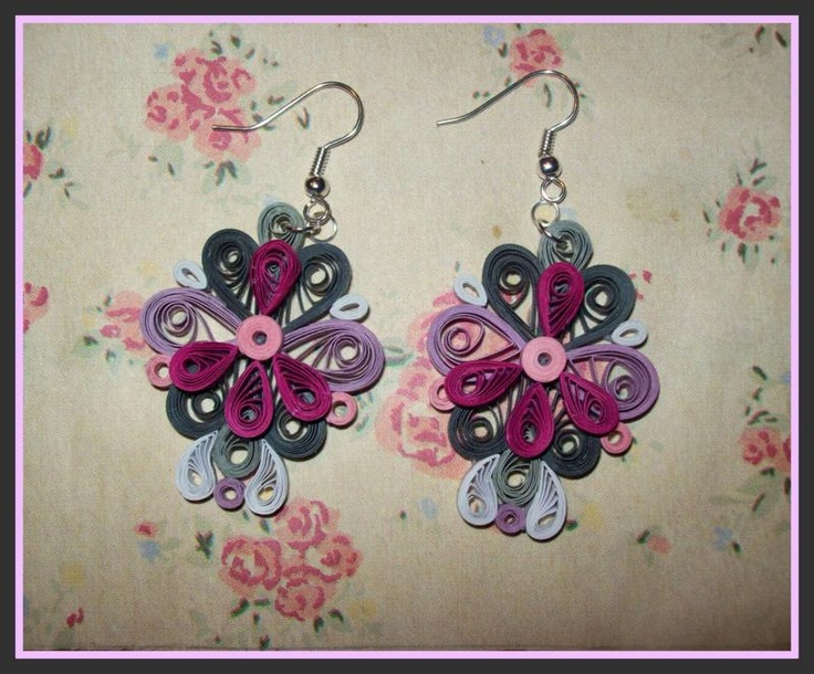 pink quilled earrings