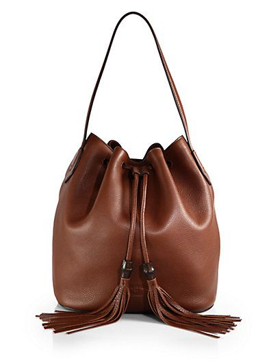 Shop now: Lady Tassel Leather Bucket Bag