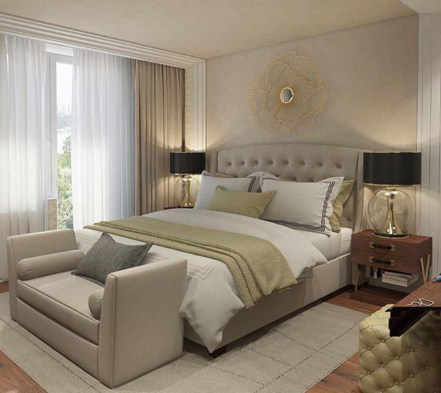 Проект спальни в стиле неоклассика для квартиры в ЖК Мосфильмовский.  #работы_desartdecor