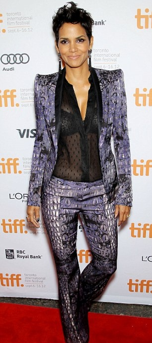 "Halle at ""Cloud Atlas"" premiere in FAB Cavalli suit..."
