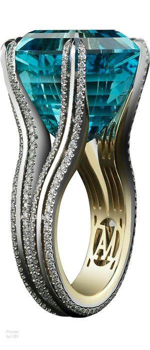 Alexandra Mor Asscher-Cut Intense Aquamarine & Diamond Ring. -- 20 Gorgeous Aquamarines - Must See- Style Estate -