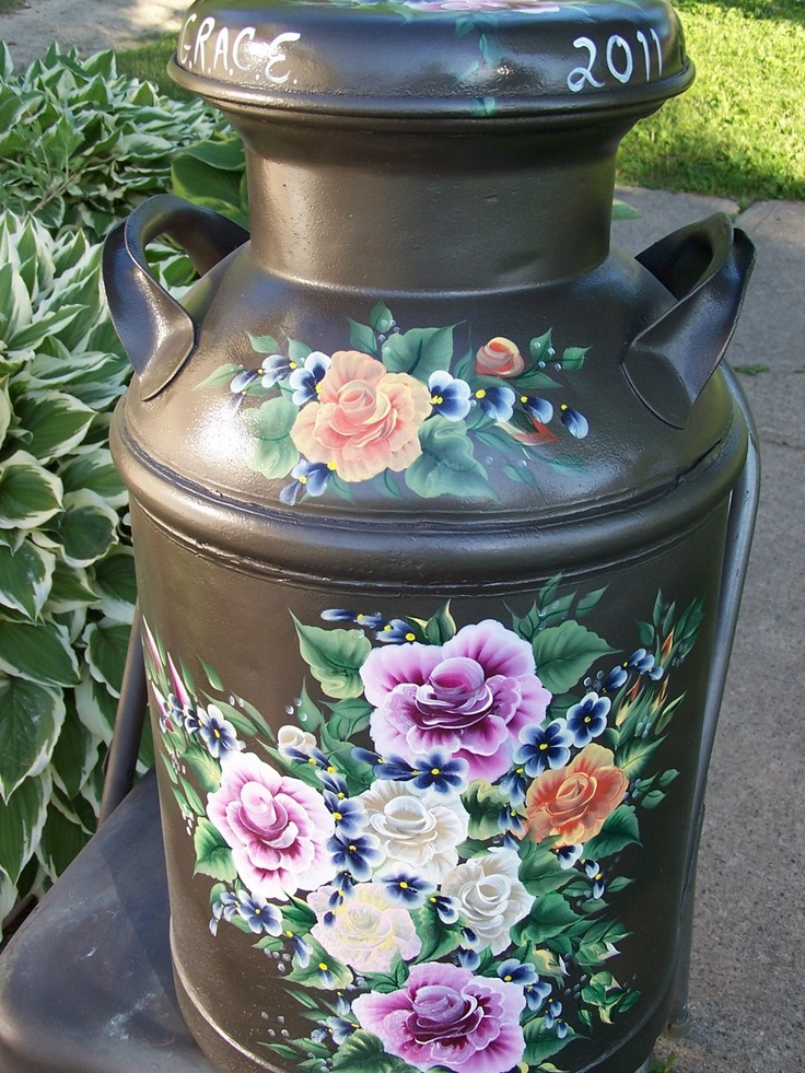 Milk cans - floral hand painted by Kim Rundle Arts by the Kickapoo