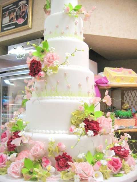 Such a beautiful wedding cake ... I love the flowers and the colors!