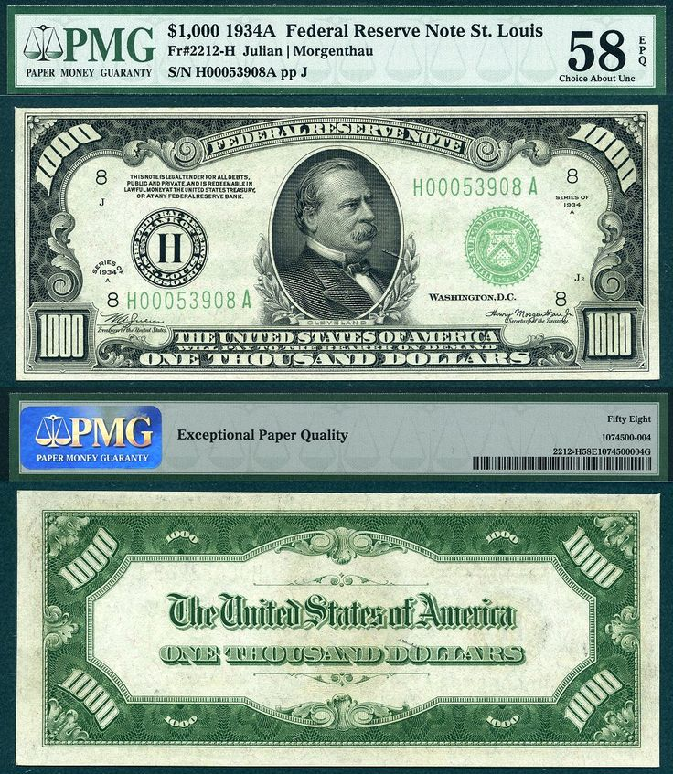 1934 A $1000 Federal Reserve Note One Thousand Dollar Bill St. Louis Missouri District PMG AU58EPQ CAA 09-2015 PLALRR