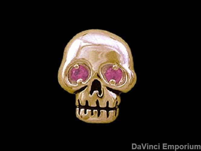 14k Yellow Gold Single Pirate Skull Stud Earring with Gemstone Eyes #Unbranded #Stud