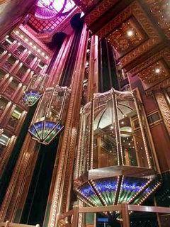 Carnival Cruises Spirit cruiseship Atrium elevators