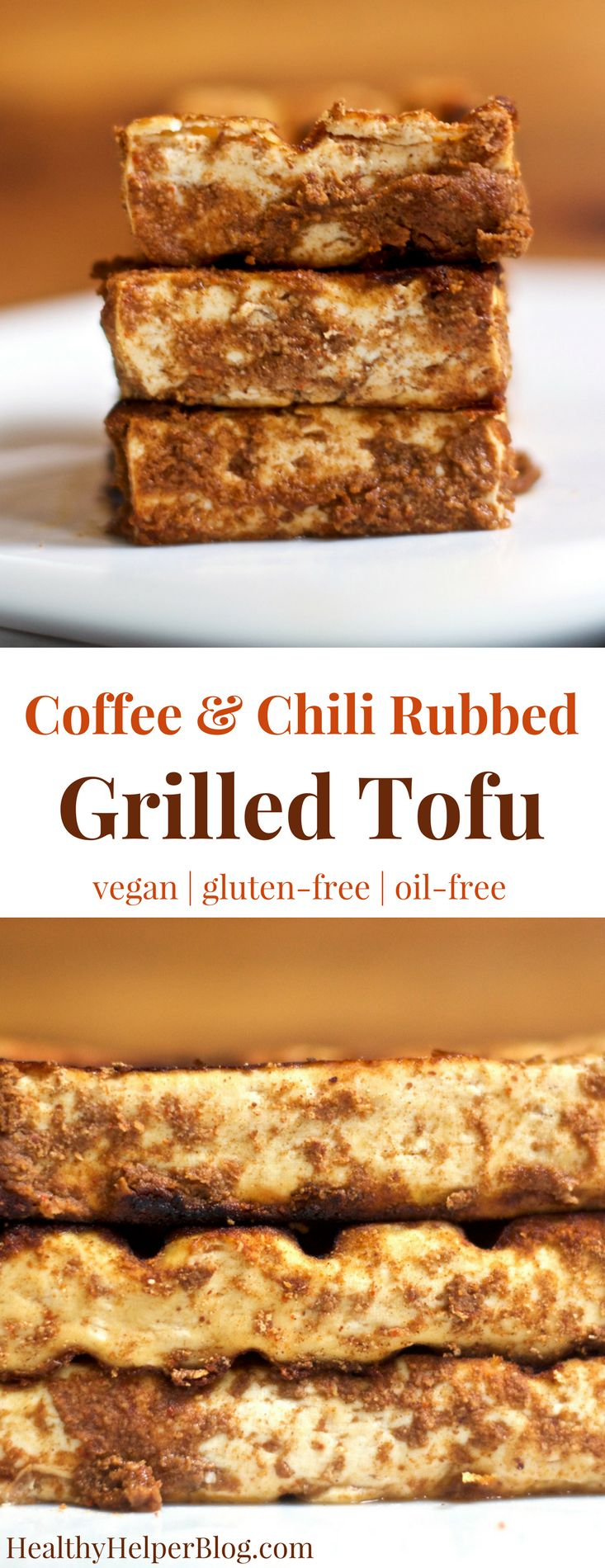 Coffee & Chili Rubbed Tofu | Healthy Helper @Healthy_Helper A plant-based grilled delight for summer BBQs and potlucks! This Coffee & Chili Rubbed Tofu is a vegan and gluten-free main dish that veggie lovers and meat eaters can agree on! Flavorful, bold in taste, and a great way to serve tofu.