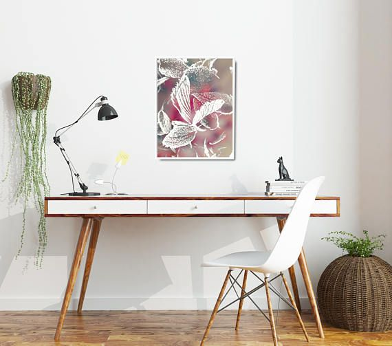 Pink photo poster with nature-inspired motive. Close-up of frozen leaves in gentle and feminine color palette. This modern photo decor is available in multiple sizes: 8 x 10 in, 12 x 16 in, 16 x 20 in, 18 x 24 in, 24 x 36 in. #homeoffice #officedecor #pinkposter #feminine #pinkartprint #kacixart