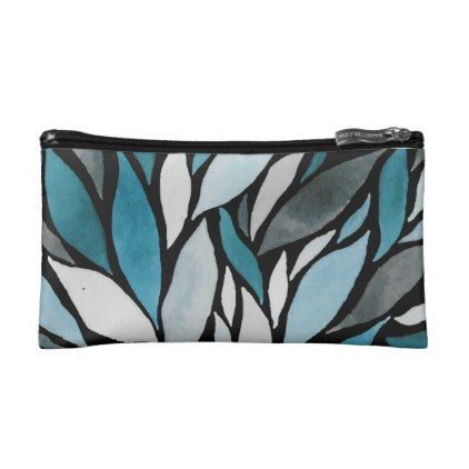 Watercolor Nature Blue Leaves   Small Cosmetic Bag - watercolor gifts style unique ideas diy